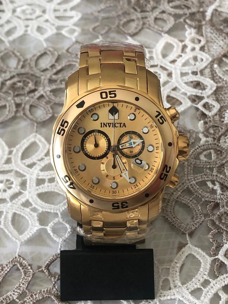 e25b47521d Relogio Invicta Pro Diver Dourado Dukd - R$ 499,00 em Mercado Livre