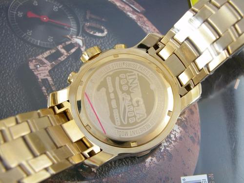 relógio invicta pro diver plaque ouro fundo verde 0075