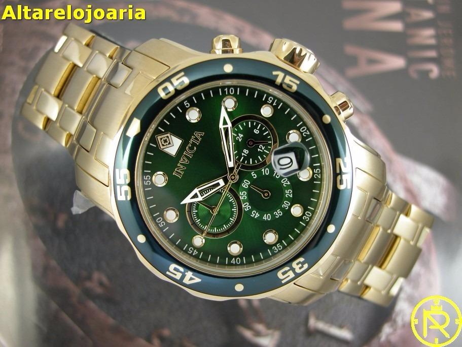 7fd3d78cc8d Relógio Invicta Pro Diver Plaque Ouro Fundo Verde 21925 0075 - R ...
