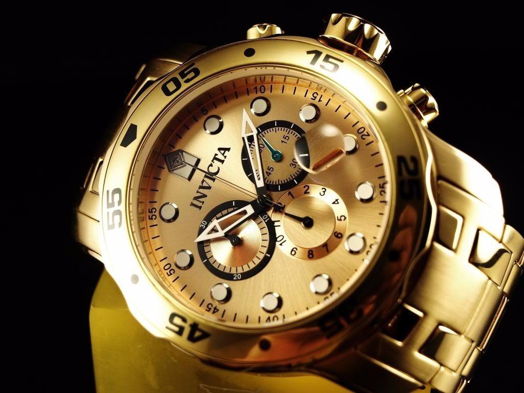 01afe4fcd08 relógio invicta pro diver scuba 0074 -banhado ouro 18k masc. Carregando  zoom.