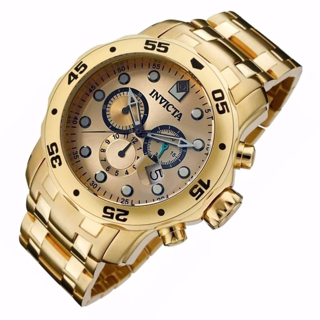 38fd57a4f29 relógio invicta pro diver scuba 0074 ouro gold 18k top. Carregando zoom.