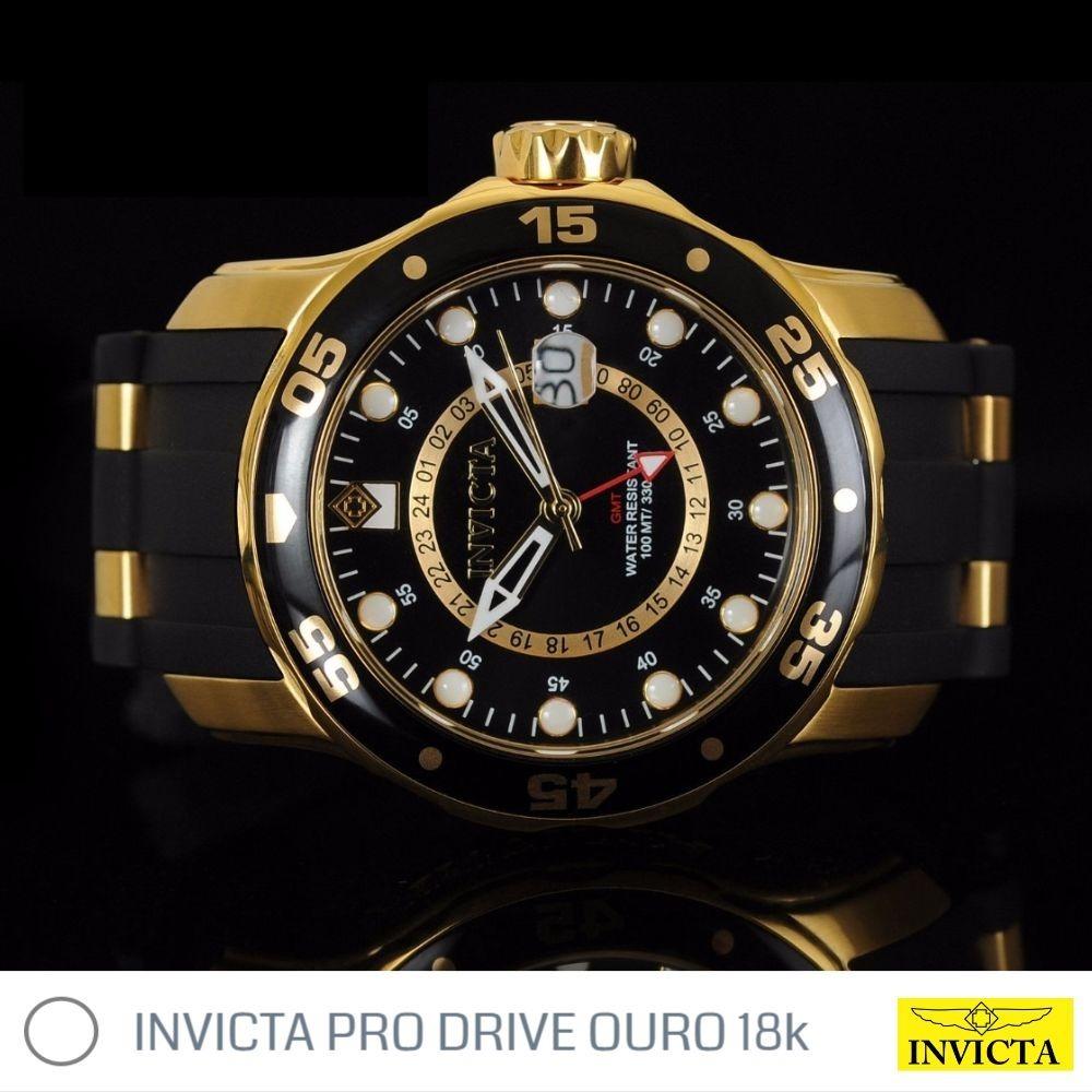 d23dfc1231e relógio invicta pro drive banhado a ouro 18k original. Carregando zoom.