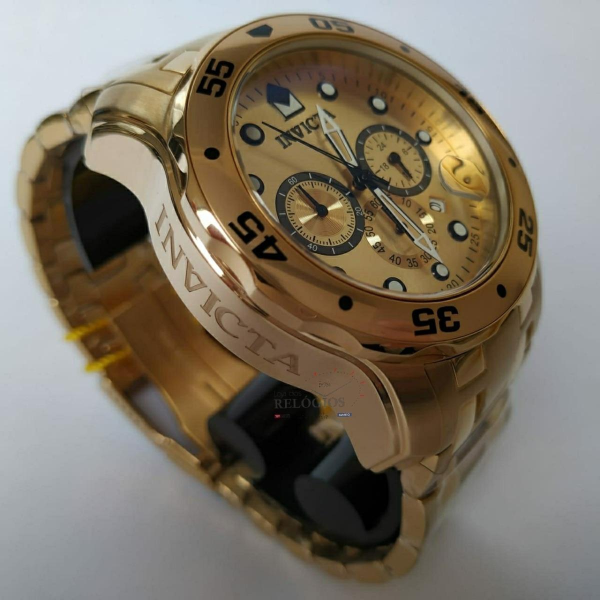 4fd65d4ab31 Relógio Invicta Promoção 0074 Pro Diver Dourado B. Ouro 18k - R  679 ...