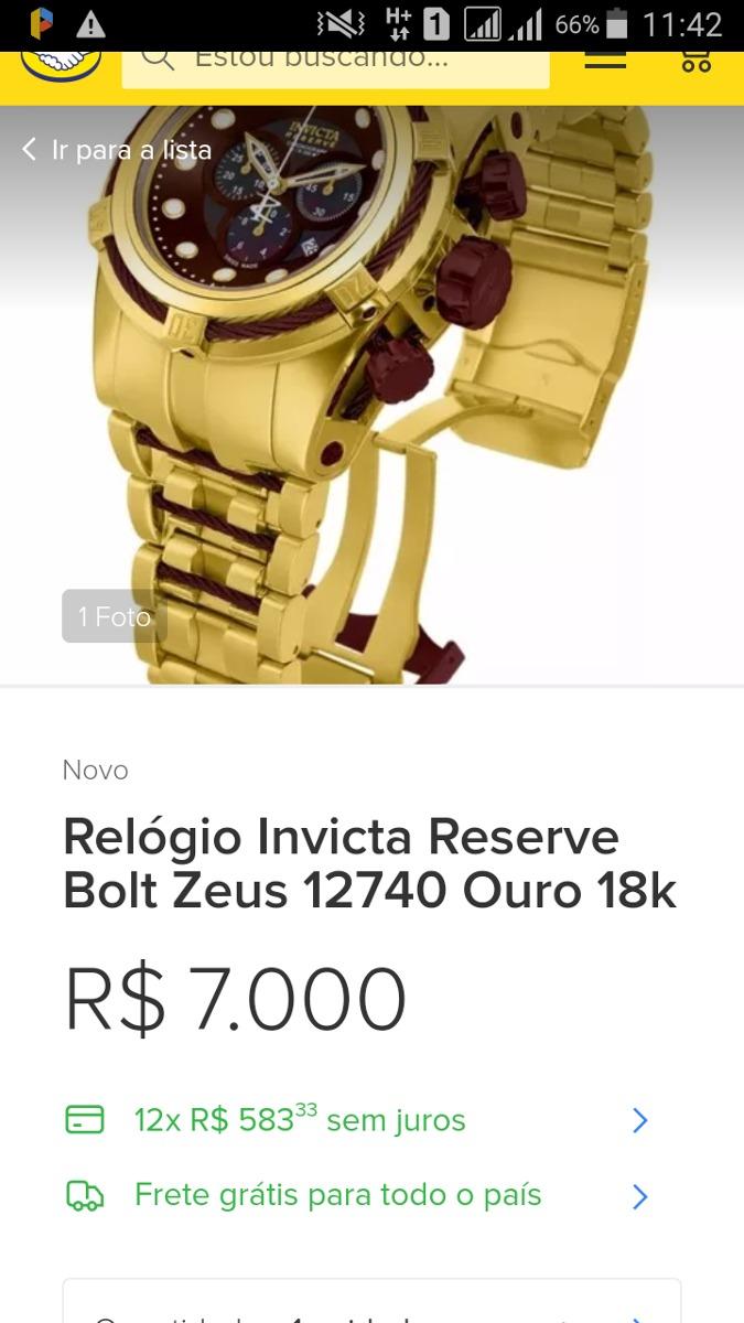 5b5327b1c30 relógio invicta reserve bolt zeus 12740 ouro 18k. Carregando zoom.