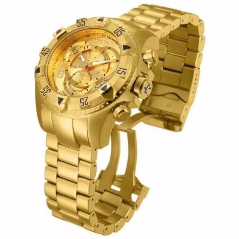 420037e96fa relógio invicta reserve excursion 6471 dourado com caixa. Carregando zoom.