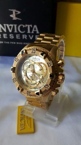 relogio invicta reserve original 6471 banhado ouro 18k cronó