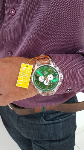 relógio invicta s1 rally couro verde original 23108