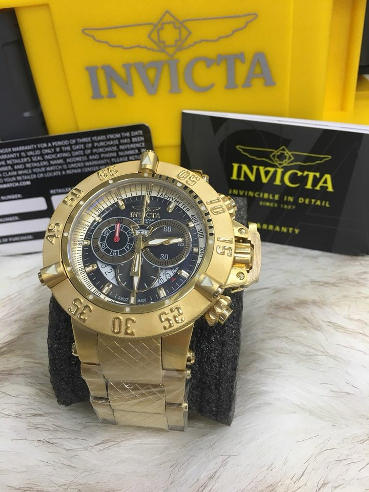f9041f0ba49 relógio invicta subaqua noma 3 dourado 14454 top bt1382. Carregando zoom.