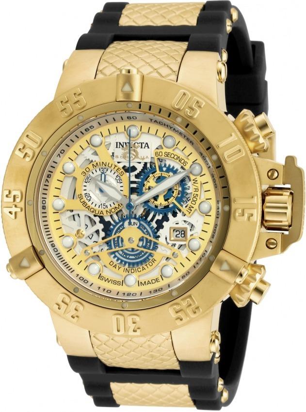 bfe2e4261e2 Relógio Invicta Subaqua Swiss 18528 Original Nf Banhado Ouro - R ...