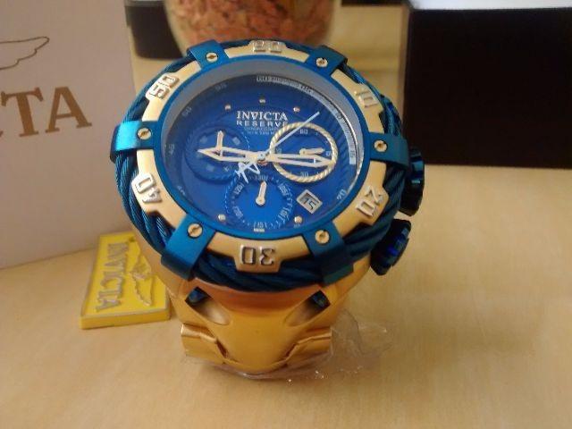 beac75ad863 Relogio Invicta Thunderbolt 21361 Gold Blue 54mm Original ! - R  544 ...