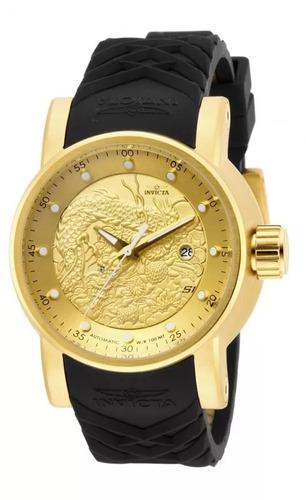 relógio invicta yakuza 15863 dourado automatico original 12x