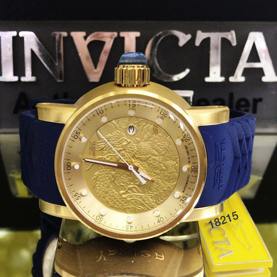 446ce3c73e0 relógio invicta yakuza 18215 original automático b. ouro 18k. Carregando  zoom.