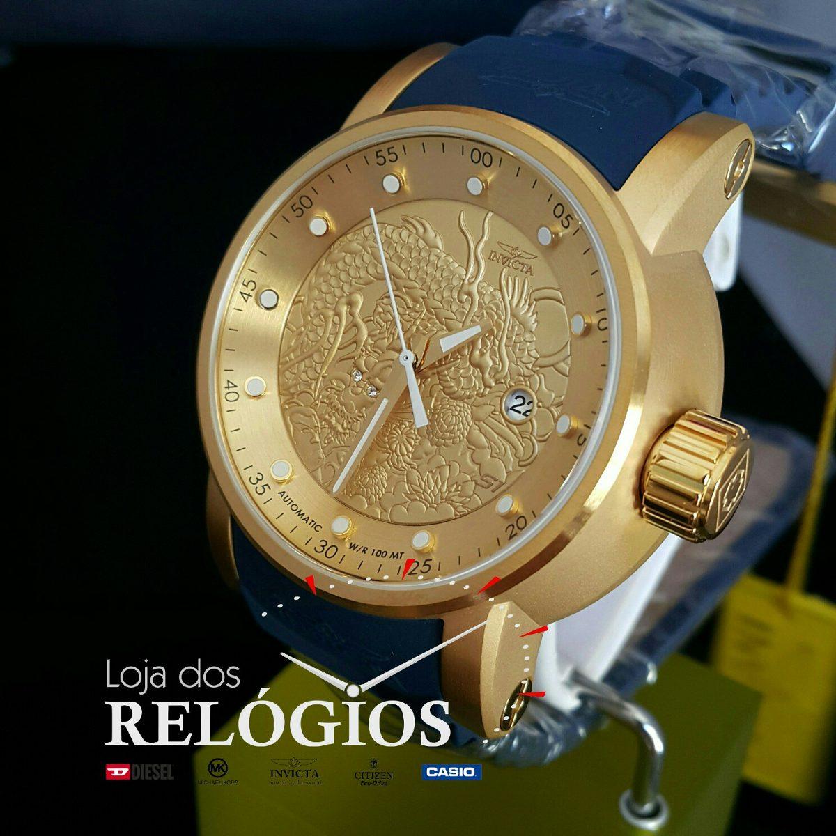 616b02cf3cc relógio invicta yakuza 18215 original banho ouro 18k. Carregando zoom.