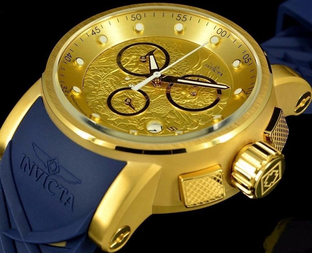 0a047b0cad8 Relógio Invicta Yakuza 21627 Dragon Ouro 18k Pulseira Azul - R  899 ...