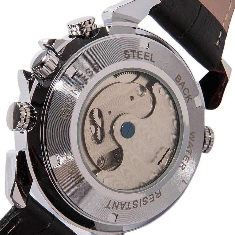 f2ab5049d56 relógio jaragar tourbillon sport luxo skeleton auto prata. Carregando zoom.