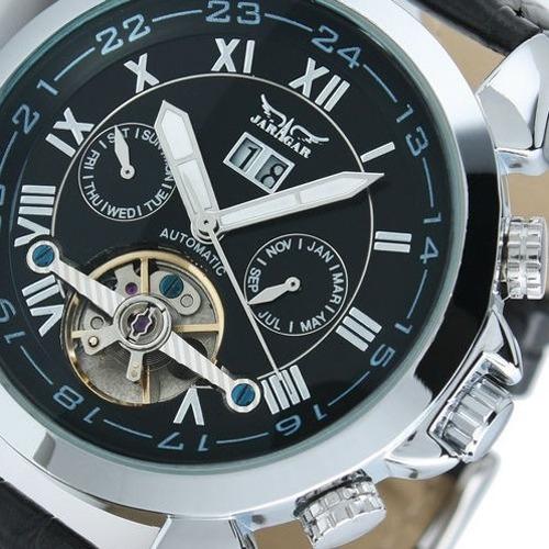 relógio jaragar tourbillon sport luxo skeleton auto prata