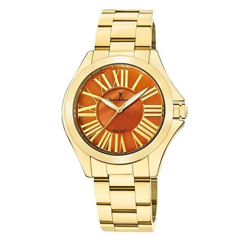 relógio jean vernier feminino ref: jv11271 fashion dourado
