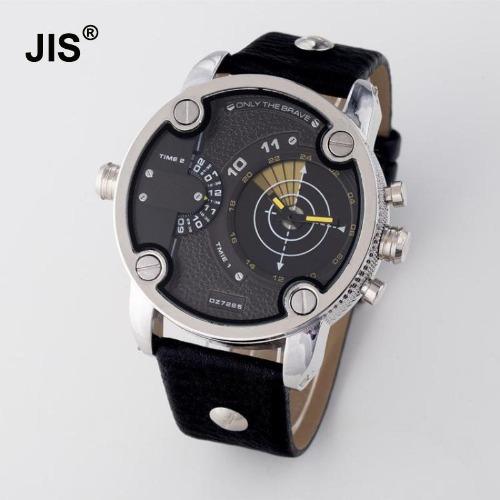 relógio jis masculino preto amarelo prata aço inox metal