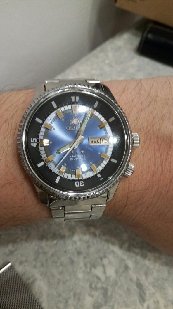 e8fc9ffbe75 relógio king diver 21 jewels azul brilhante 3 chaves. Carregando zoom.