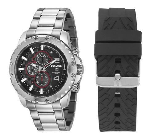 relógio kit masculino seculus 20604g0svns1 promo verão
