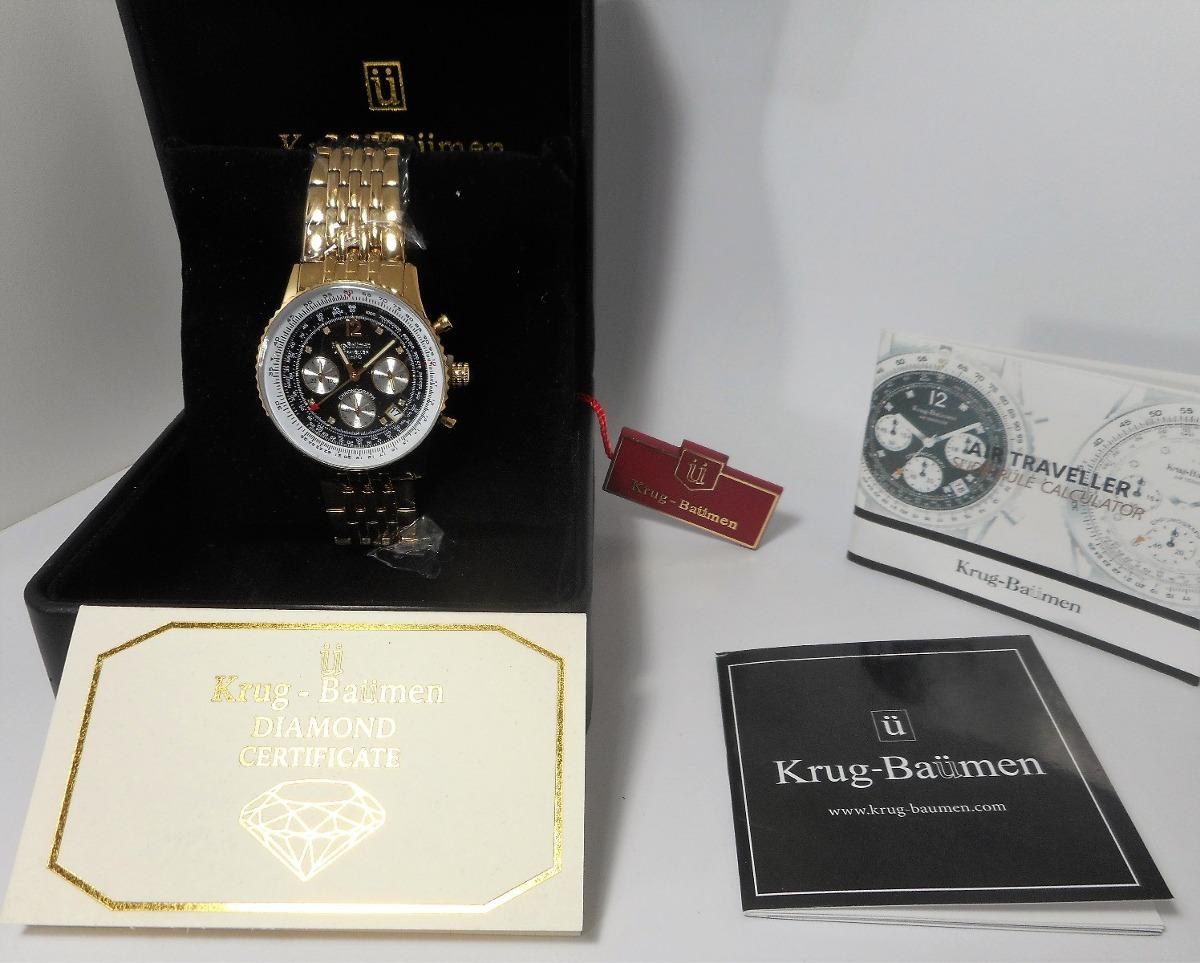 5a1d5c2ae41 Relógio Krug Baumen - Banhado A Ouro-com 8 Diamantes - R  1.680