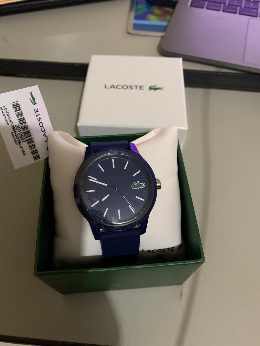 6015a25139a Relogio Lacoste Original Azul Marinho Com Jacare Verde - R  900