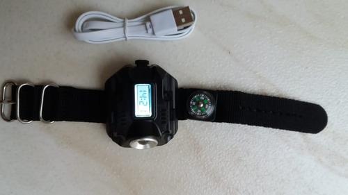 relógio lanterna tático esporte ciclismo camping led