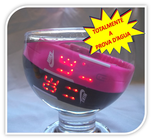 relógio led digital sport nike pulseira silicone + headphone