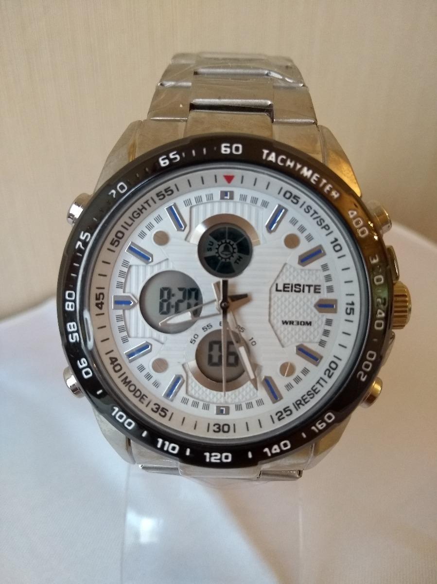 ceed937a2dd relógio leisite digital e analógico em aço. Carregando zoom.