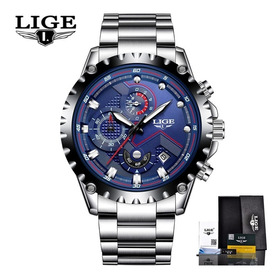 Relógio Lige 9821 Prata Azul Aço Luxo Cronometro Brinde