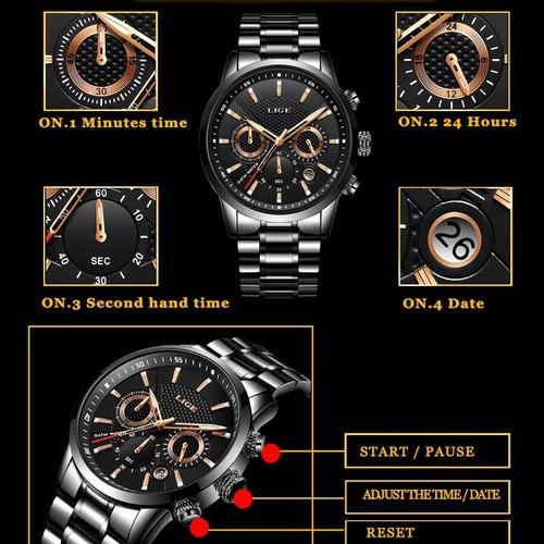 relógio lige 9866 masculino quartzo de luxo original preto