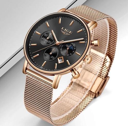 relógio lige lg-9894 feminino original rosê azul aço inox