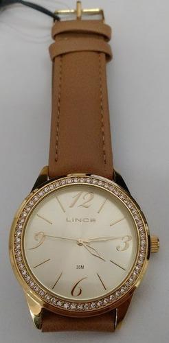 relógio lince analógico feminino dourado lrc4343l couro bege