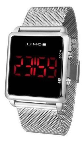 relogio lince digital led mdm4596l prata feminino unissex