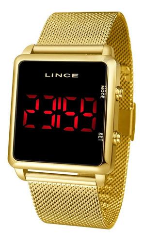 relogio lince digital led quadrado dourado mdg4596l pxkx +nf