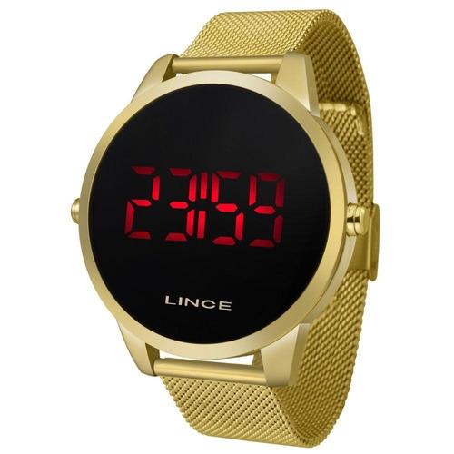 relógio lince digital unissex dourado - mdg4586l pxkx led