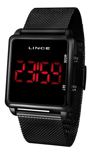 relógio lince digital unissex preto - mdn4596l pxpx led