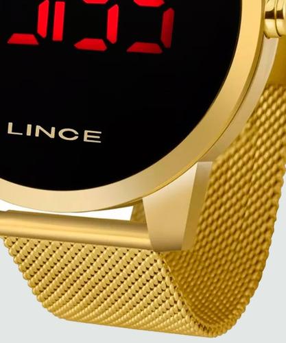 relogio lince dourado led digital esteira unissex original a prova dagua com garantia de fabrica e nota fiscal mdg4586l
