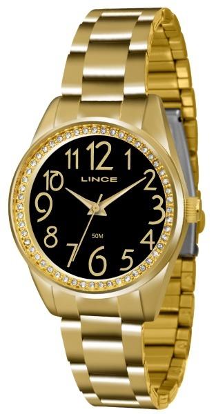 494fc66f0be Relógio Lince Feminino Dourado Fundo Preto 33802 - R  171