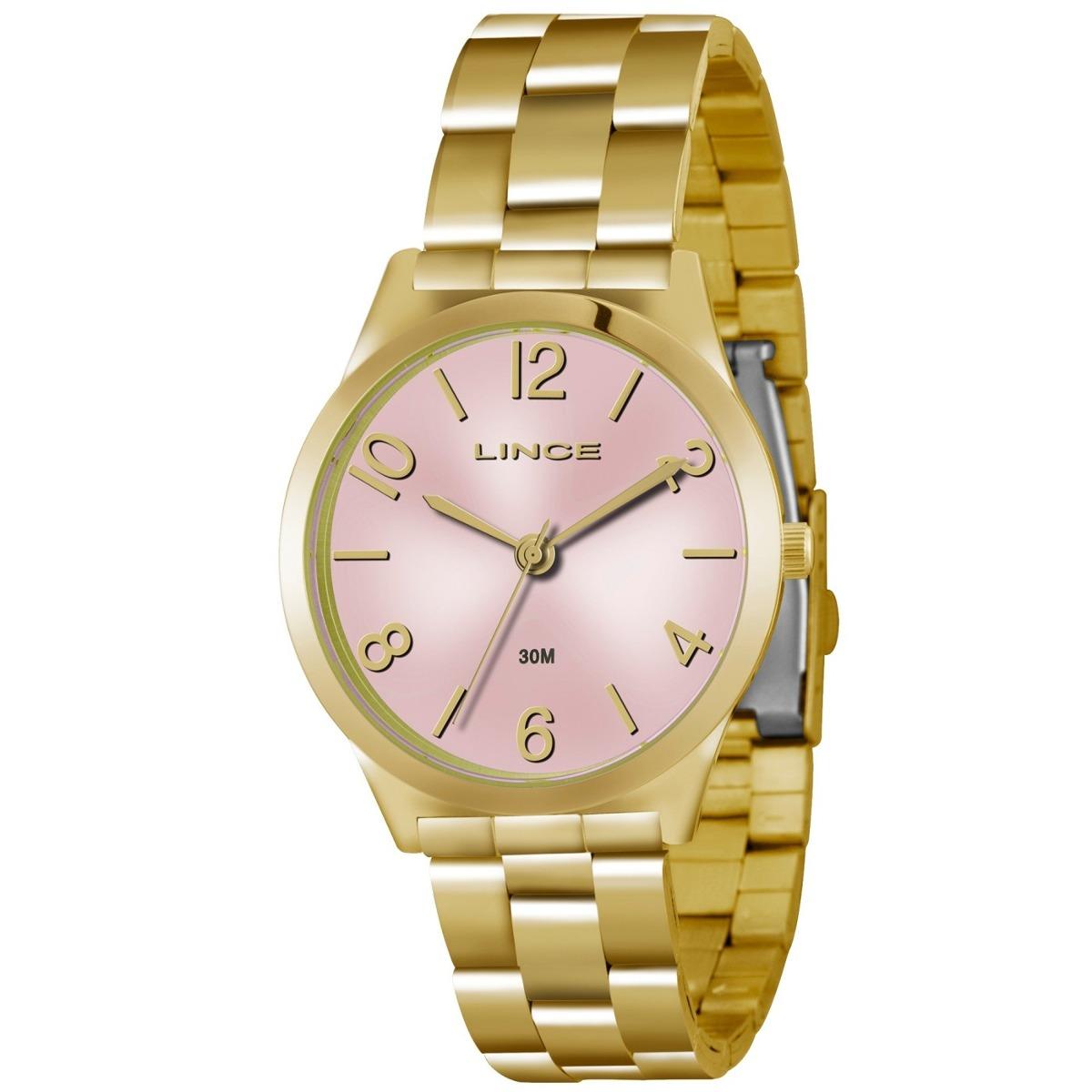 f20b8d65f7f Relógio Lince Feminino Dourado Fundo Rosa Lrg4301l R2kx - R  174