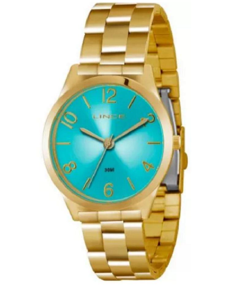 d70b93d784e Carregando zoom... lince feminino relógio · relógio lince feminino dourado  fundo azul lrg4301l a2kx
