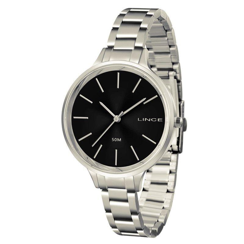 c3cbba7a9e4 relógio lince feminino aço prata visor preto lrmh045l p1sx. Carregando zoom.