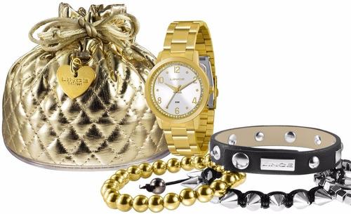 relógio lince feminino analógico dourado lrg4248l