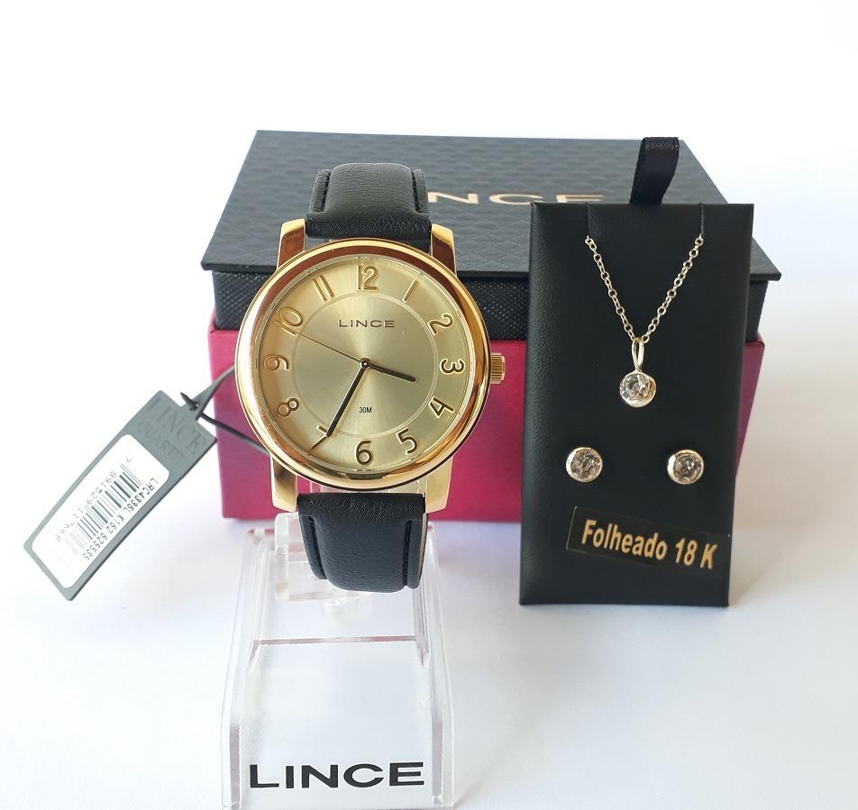 e1b519b43cb4c Relógio Lince Feminino Couro Lrc4336l + Kit Colar E Brincos - R  129 ...