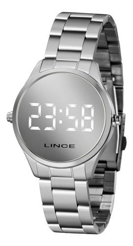 relogio lince feminino digital led mdm4617l bxsx prata