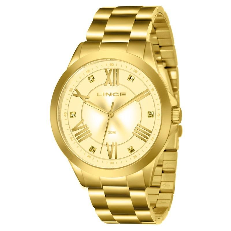 4fab51aafda40 relógio lince feminino dourado algarismo romano lrgj046l. Carregando zoom.