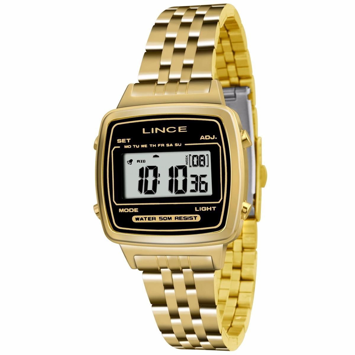 5c49c210eb4 relógio lince feminino dourado digital quadrado sdph040l. Carregando zoom.