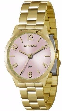 f0c4a97687b Relógio Lince Feminino Dourado Fundo Rosa Lrg4301l Original - R ...
