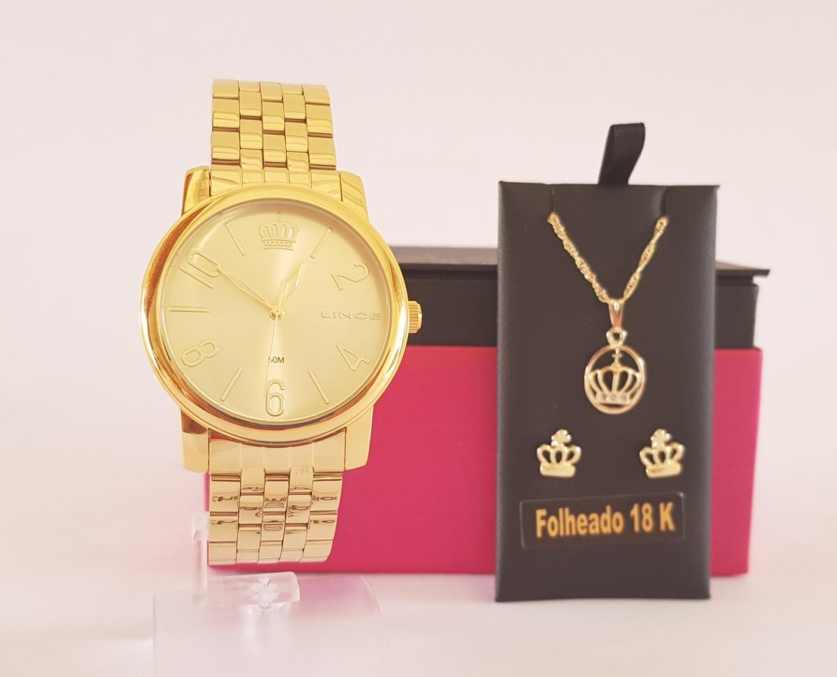 836f3f02a86 relógio lince feminino dourado kit brincos e colar lrg4555l. Carregando zoom .