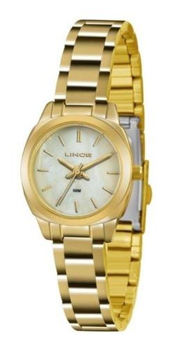 relógio lince feminino dourado lrg4436l d1kx pequeno pérola